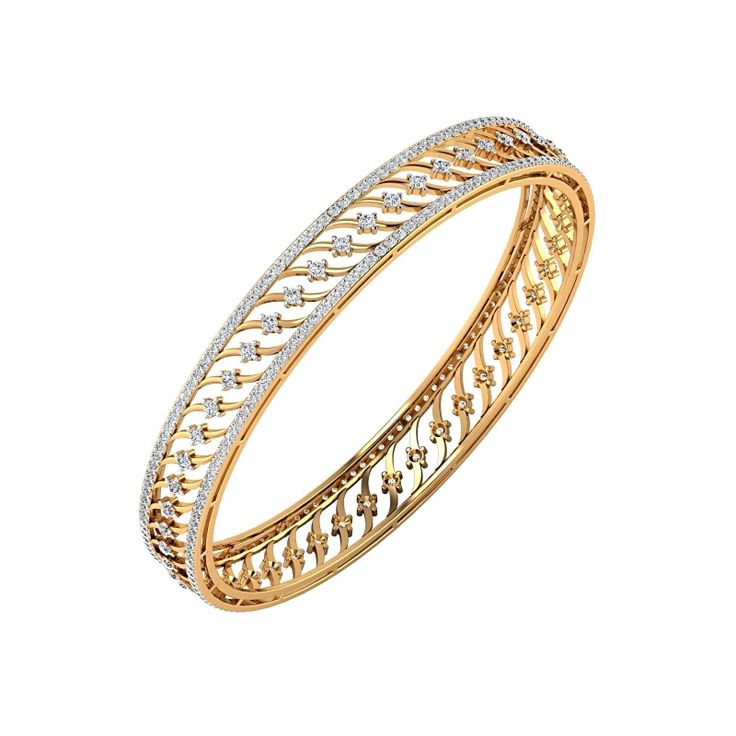Buy online unique design of JOJ Akashi Bangle made with pure gold and diamond by jewelsofjaipur.com, Gold Diamond Bangle Certified By SGL