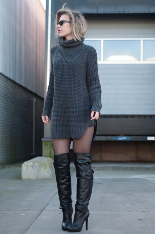Stay high how to style over the knee boots sweater dress for Sweater over wedding dress
