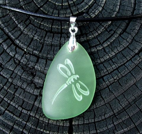 Dragonfly engraved on Ocean beach Sea Glass pendant - choose your color