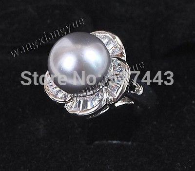 Оптовая продажа бесплатно SIPP > мода 12 мм серый юг морские раковины перл круглый бусины размер кольца 7 8 9 ааа