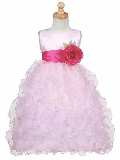 Blossom - Pink Satin Bodice w/ Ruffled Organza Skirt