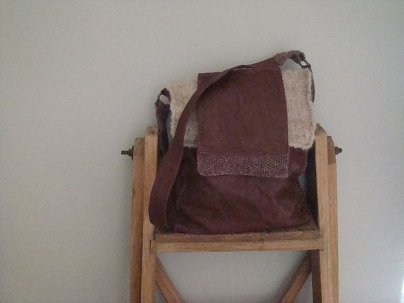 Privat order Italian leather bag handknitted wool by JJePa on Etsy