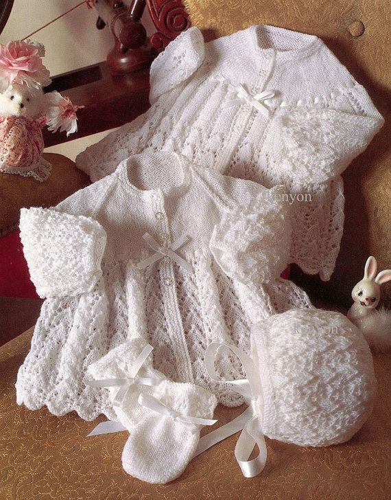 """INSTANT Download Knitting Pattern - Baby's Set - 2 Jackets, Bonnet and Mittens - 3 Sizes 16-20"""" - 3 Ply and 2 Ply - pdf  0217"""