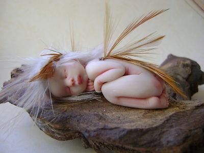 OOAK Baby Fairy Sculpt by artist jacky mullen.