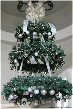 Hanging Christmas Tree wreaths