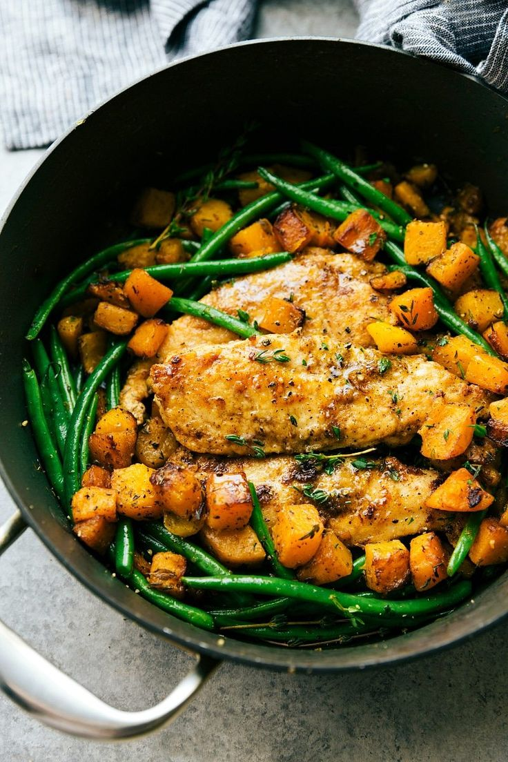A delicious pan seared chicken, butternut squash, and green bean skillet dinner. An easy, family-friendly, 30-minute meal! Lightly caramelized butternut squash cooked in browned butter and topped withtenderherbed chicken andcrisp green beansscreams all thingsFall and comfort food! This dish is definitely becoming a Fall and Winter staple in our home. Have you guys tried brown...