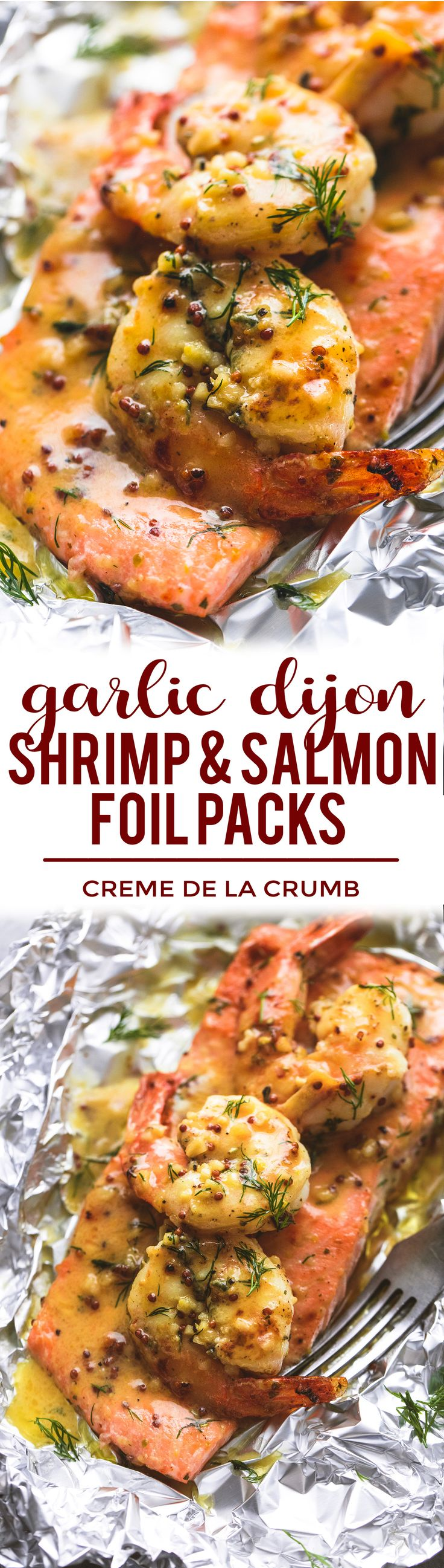 Bold and savory garlic dijon shrimp and salmon foil packs are loaded with your favorite seafood and the most incredible tangy honey dijon sauce | lecremedelacrumb.com