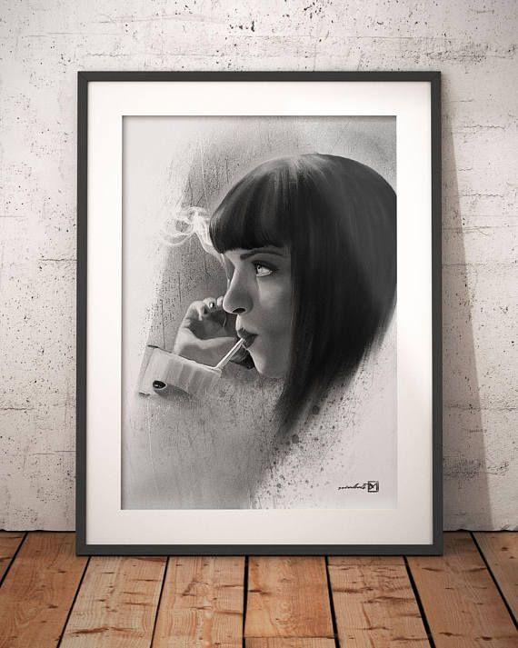 Mia Wallace Uma Thurman Pulp Fiction artwork handmade