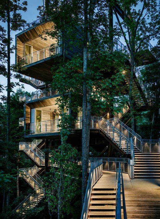 La casa sustentable Treehouse se asienta en el borde del bosque de los Apalaches, en las 10.600 hectáreas de la reserva Summit Bechtel. El sitio es el nuevo alojamiento para el Jamboree Scout Boy, un destino anual para la practicar la capacitación de liderazgos.