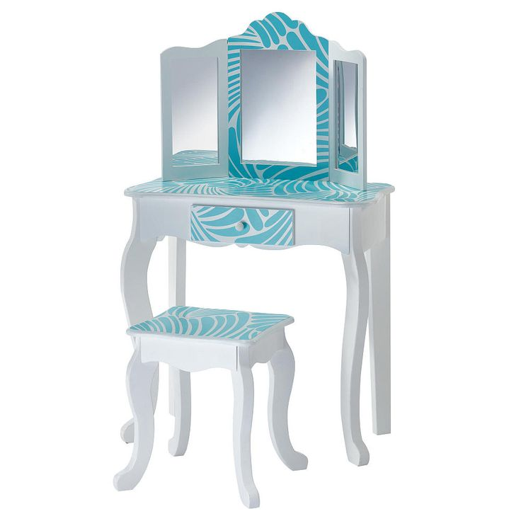 Help dress your diva with Teamson Kids Fashion Prints Tropical Vanity and Stool Set! Turquoise blue and white mixed with tropical pattern give the vanity an adventurous and unique appearance. Mirror serves as an excellent place for kids to check out their reflection and make sure they will be the best dressed Queen/King at the party!<br><br>The Teamson Kids Fashion Prints Tropical Vanity Table & Stool Set Features:<br><ul><li>Table Size: 22.50 inch lengt...