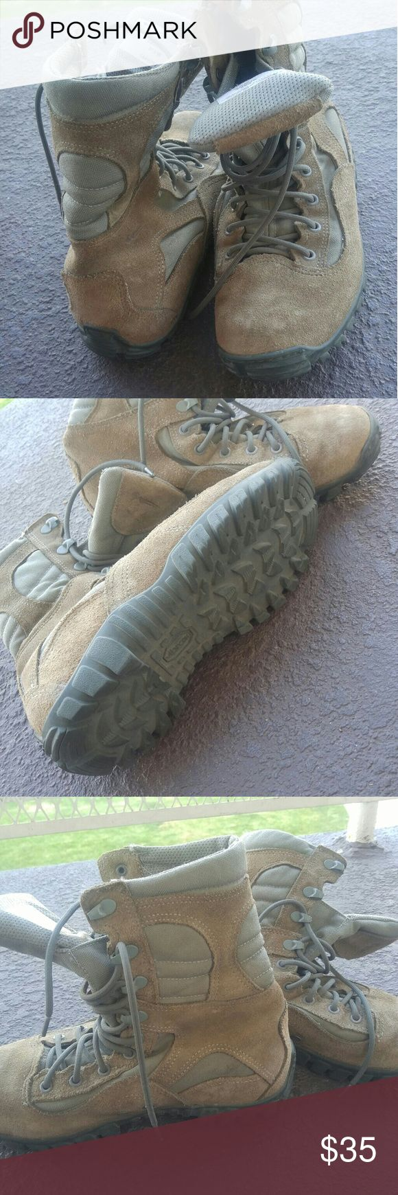 Air Force Military Boot Standard Issue Standard issue hiking boots purchased from the Andrews Air force base with my grandfather, unfortunately I got the wrong size and they pinch my toes. They've seen very little action, and the tread/sole is still in excellent condition. Size 7 Women's.  Excellent protective hiking boot for all seasons, decently water protective and the best part-- they lace fairly high so they protect your ankles while hiking and climbing. Belleville Shoes