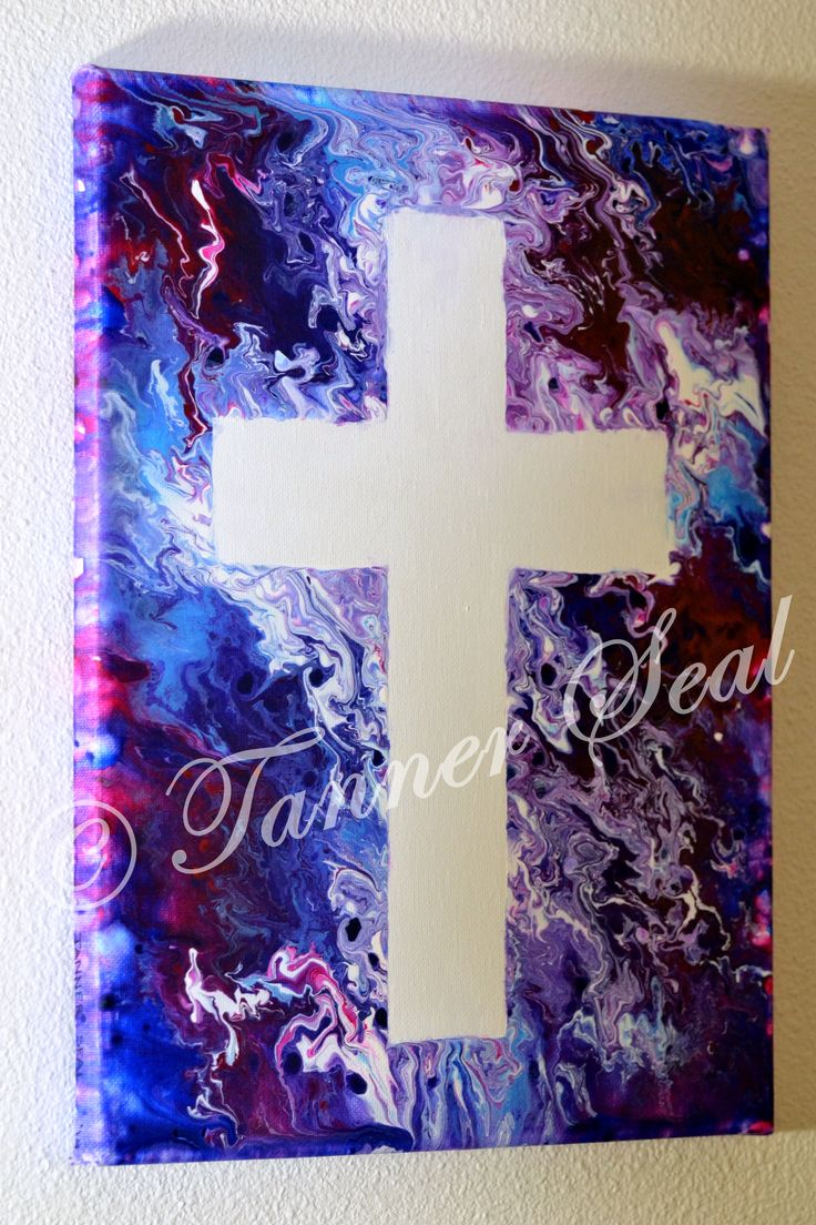 """One Cross ~ Acrylic Canvas Painting 11X14"""" White cross showing the grace of God and his love. Great gift for any God lover or church goer! https://www.etsy.com/shop/SpotlightArtbyTHS This piece showcases the glory of God. It highlights an abstract fluid technique using shades of purple, blue, magenta, and white. The white cross, symbolizing purity, is surrounded by shades of purple, the color of royalty. This would make a great gift for any God loving person!"""
