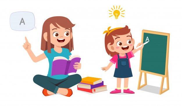 Happy Cute Little Kid Girl Study With Mom Kids Clipart Cute Kids School Chalkboard Art