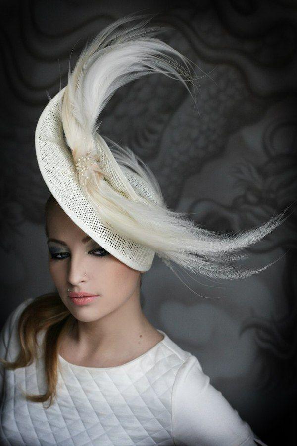 Elegant cream hat with a veil | Evening hats by Anna Mikhaylova, via Behance