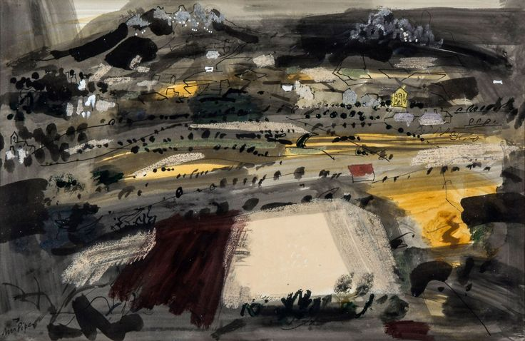 thunderstruck9:  John Piper (British, 1903-1992), Landscape with Harmony Chapel, 1963. Gouache, watercolour, pen and ink on paper, 39.4 x 57.3 cm.