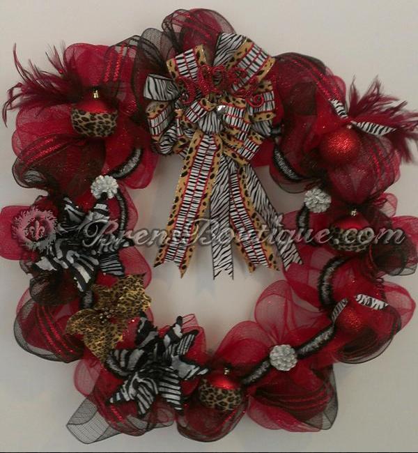 deco mesh, christmas wreath, zebra, red, leopard print