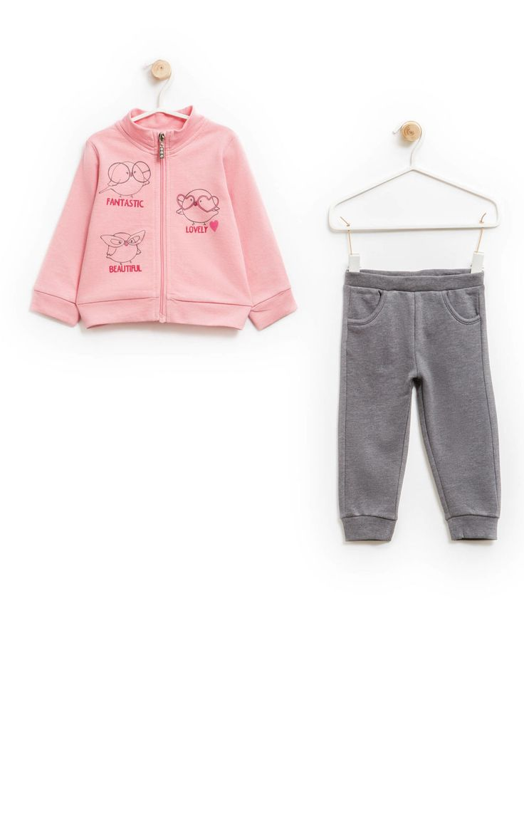 100% cotton tracksuit with sweatshirt and trousers, Grey/Pink