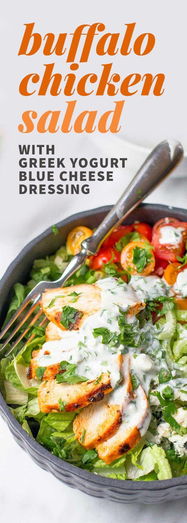 Grilled Buffalo Chicken Salad with Greek Yogurt Blue Cheese Dressing