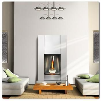 Direct vent gas fireplace. Double fired ceramic bowl with high temperature resistant refractory river rocks. Concave polished satin chrome reflective panel. Available as a natural gas or propane unit.