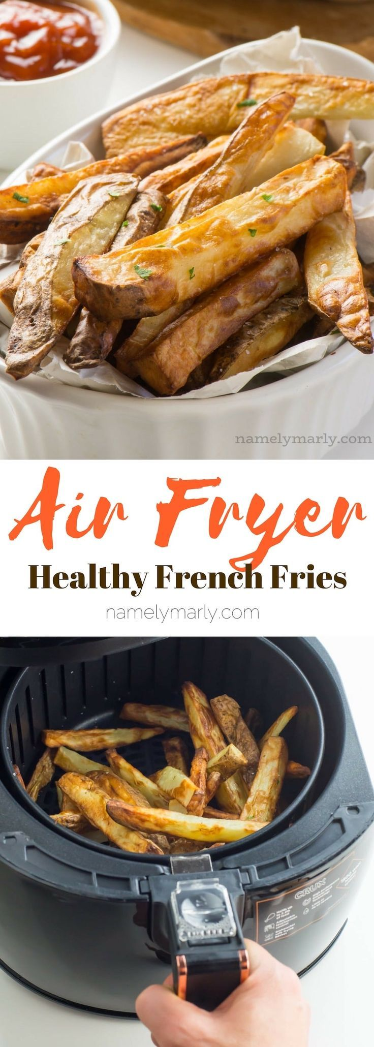 You love french fries? The crispier the better, right? Well, you're going to fall head over heels for these delicious, crispy and HEALTHY air fryer french fries, made with only one teaspoon of olive oil! It's the perfect way to enjoy french fries at home, These crispy fries are low in fat and take only minutes to make! #namelymarly #frenchfries #airfryer #fries via @namelymarly
