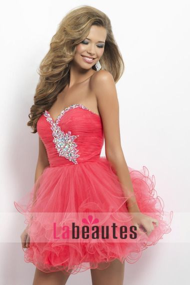 Red Short/Mini homecoming dresses/short prom dresses/cocktail dresses/party dresses Tulle with shinning Rhinestones, Beading, Sequins