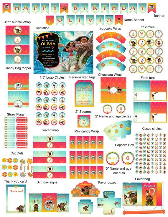 Your little one will love this beautiful Moana complete birthday party kit!  This listing is for a PRINTABLE digital file for printing at home or uploading to a professional printer - NO physical item will be shipped out. (All items will be sent on 8 1/2 x 11 PDF files.)  A la carte items are available, please ask me about it!  ------------------------------------------------------------------------------------------------------- PLEASE PROVIDE THE FOLLOWING UPON CHECKOUT ---------------...