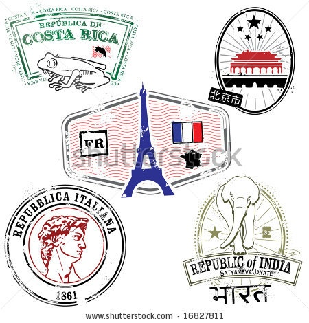 stock vector : Series of stylized travel stamps