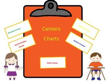 Copy the Centers Charts and then laminate them for years of use.  Place them around the room to showcase your centers or stations in the classroom.  There  is a Math Centers Chart, Reading, Science. Social Studies, and Writing.