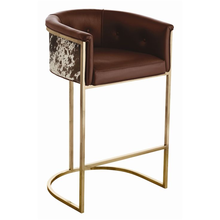 Arteriors 6826 Calvin Barstool W 24 D 21 H 39 Antique Brass Base Brown  Leather Seat
