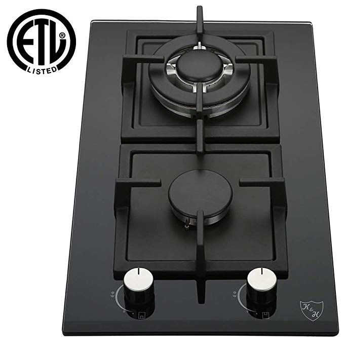 Amazon Com K H 2 Burner 12 Lpg Propane Gas Glass Cooktop 2 Gcw