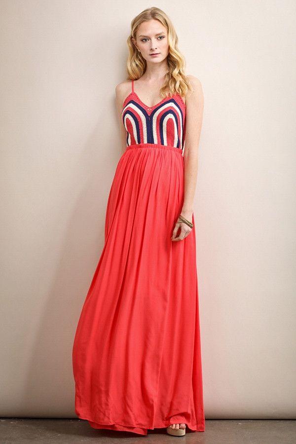 Coral Crochet Top Maxi Dress