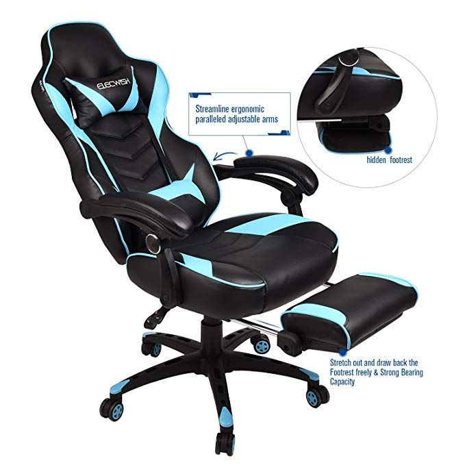 White with Black Color Adjustable Reclining High-Back PU Leather Swivel Video Game Chair with Headrest and Lumbar Support AutoFull Computer Gaming Chair