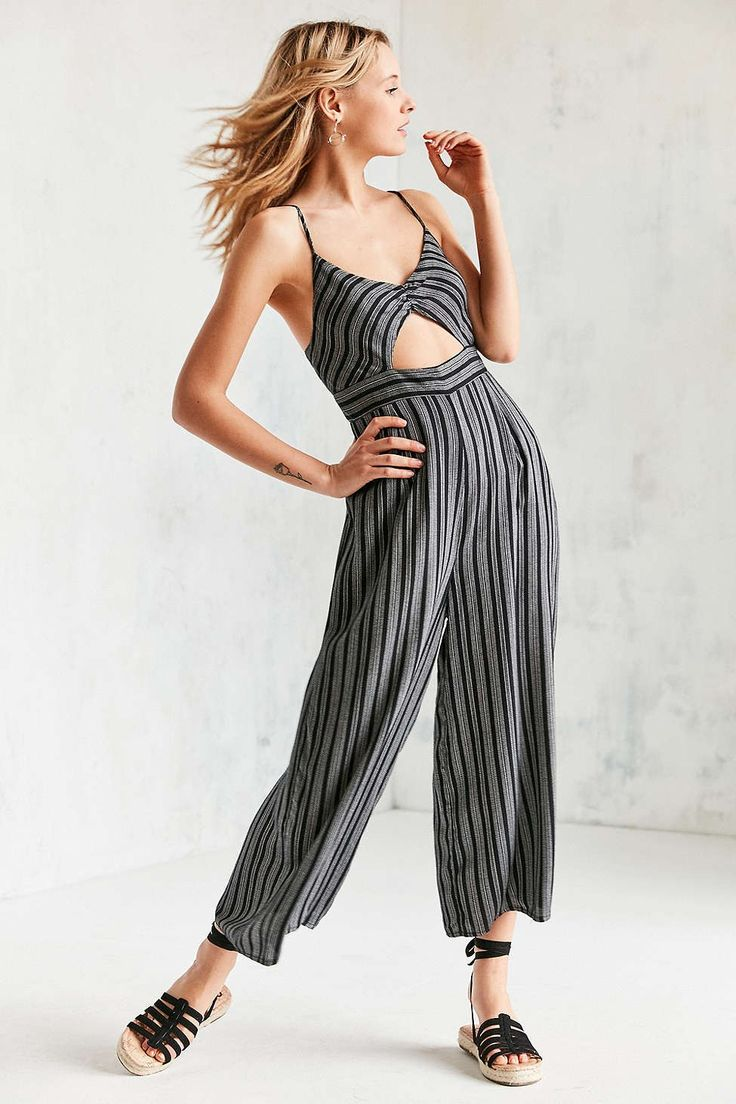 Ecote Yarn Dyed Striped Cut-Out Jumpsuit - Urban Outfitters