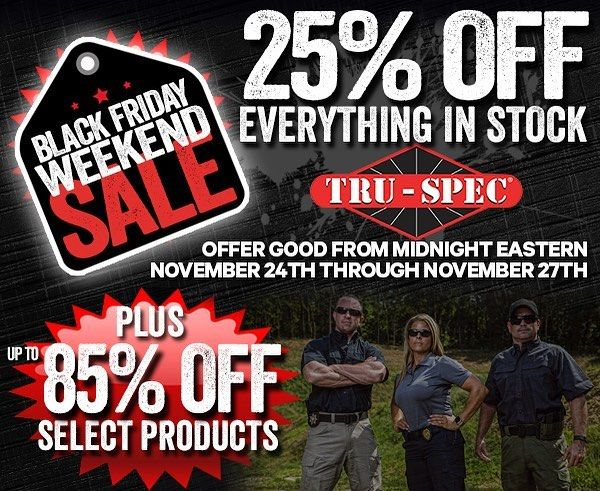 Click the link in our bio to take advantage of some AMAZING #BlackFriday deals! Get 25% off EVERYTHING in stock and up to 85% off select products this weekend only! #thanksgiving #sale #truspec #tactical #uniform #military #lawenforcement #police #firefighter #publicsafety #ems #security #mechanic #workwear #outdoors #hiking #camping