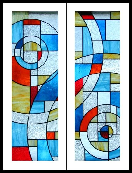 great color combination - contemporary stained glass cabinet doors
