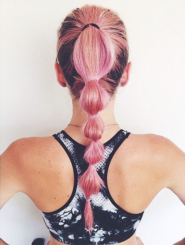 11 Gym Hairstyles You'll Wear All Summer Long via Brit + Co. The Bunched Ponytail: This look, first popularized by Disney's Jasmine, has some edge. We think you need a pink-bunched ponytail before you destroy some punching bags or whip out your boxing gloves