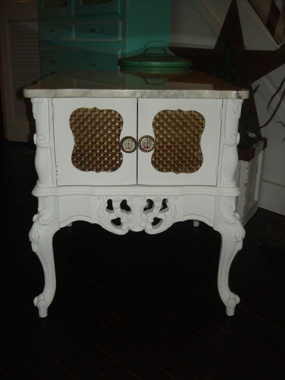 SALE/Reduced from 150/Vintage Painted Shabby French Provincial Side Table