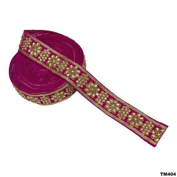 Indische Frauen Kleid Hochzeit Wrap dekorative Perlen Trim 1 Yard handgemachte Rosa ethnische Braut Saree Lace Art Decor TM404