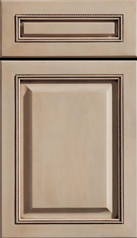 "Dura Supreme Cabinetry ""Barcelona Classic"" cabinet door style shown in Maple in a gray stain and ""Coffee"" glaze finish."