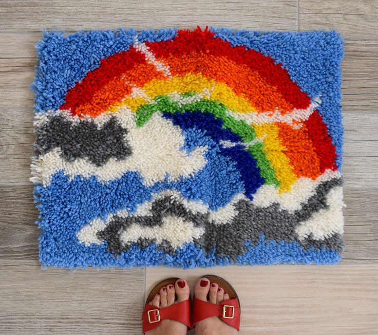 Vintage 70s Rainbow Latch Hook Mat