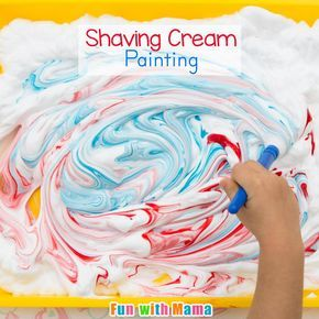 Shaving Cream Painting is a process art activity for preschoolers and toddlers. (My 7 year old loves it too.) You need minimal supplies and I guarantee that your 2, 3, 4 or 5 year old child will have at least 30 minutes of sensory fun. Process art activities are more about the painting part of the process rather than the finished result. This is one activity my three year old wishes she can do over and over again. Shaving Cream Painting Process Art for Preschoolers My kids love shaving…