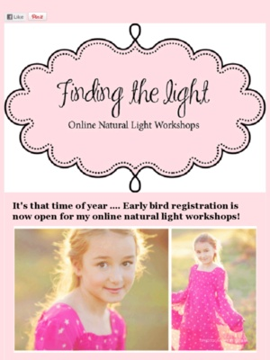 """early bird special"" The original online natural light workshop: Lights Workshop, Early Birds, Birds Special, Ears Birds, Books Jackets,  Dust Jackets, Natural Lights,  Dust Covers,  Dust Wrappers"
