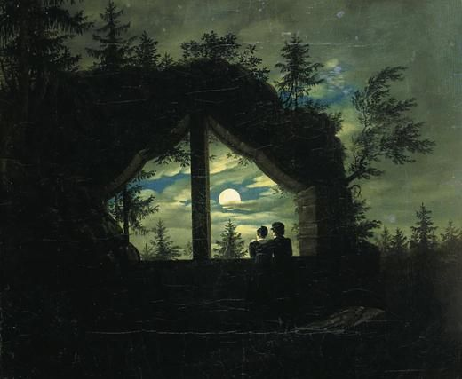 Oybin window at the moonlight - Carl Gustav Carus , 1825-28, German 1789-1869 oil on canvas.