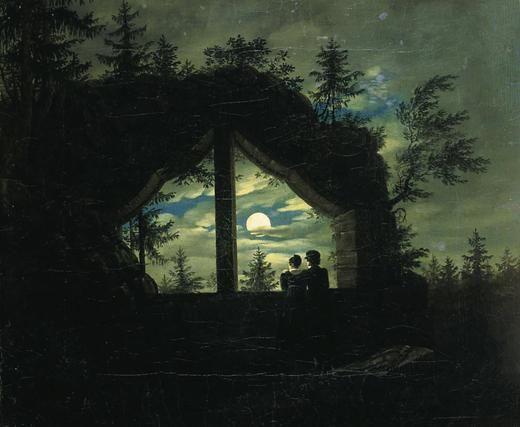 Oybin window at the moonlight - Carl Gustav Carus , 1825-28, German 1789-1869 oil on canvas.
