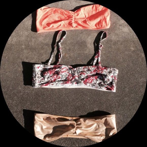 Bandeau bundle Orange and gold bandeaus from American apparel, center from free people with removable straps. Great condition! All size small Free People Intimates & Sleepwear Bandeaus