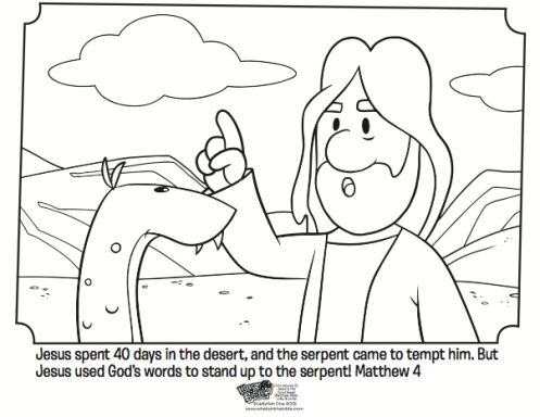 Kids Coloring Page From Whats In The Bible Showing Jesus Being Tempted Desert