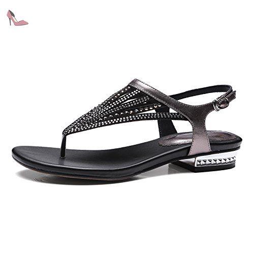 Pantoufle femme été 2017 mode porter haut diamant tongs sauvages sandales et pantoufles fond épais chaussures de plage marée 2WY6w3G