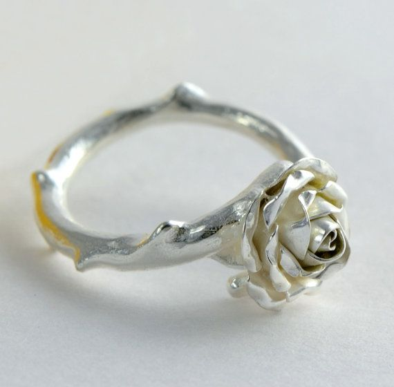 Small Rose Ring Rose Stem Jewellery by MagnoliaJewellery on Etsy