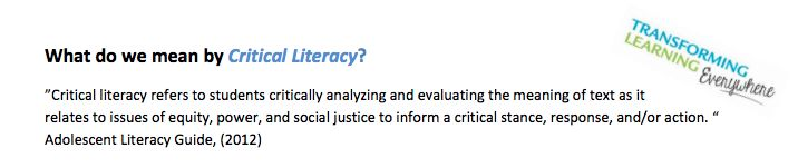 This article informed me of what critical literacy involves: students analyzing and evaluating the deeper meaning of texts. Specifically, their meanings in relation to issues of equity, social justice and human rights. It helped me understand the importance of teaching critical literacy to develop the ability of students to show empathy.