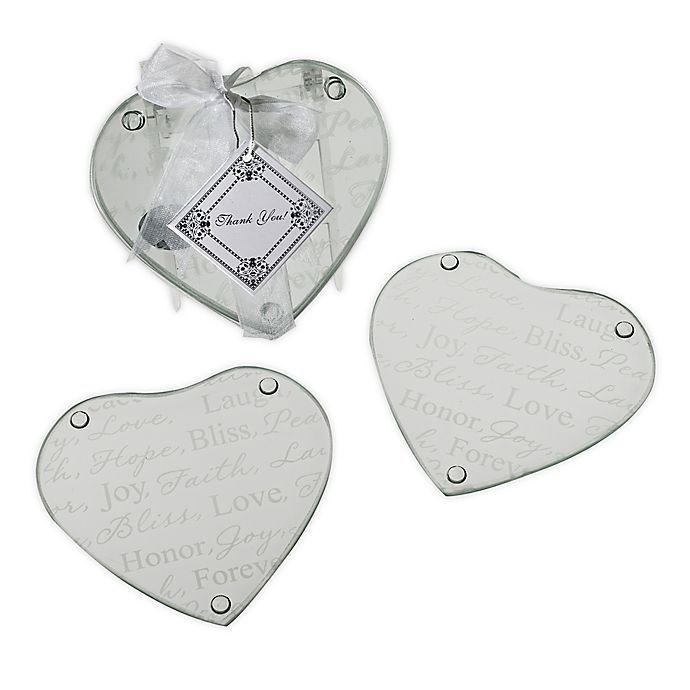 Kate Aspen Good Wishes Heart Glass Coasters Set Of 2 Bed Bath Beyond Glass Coasters Coaster Set Kate Aspen